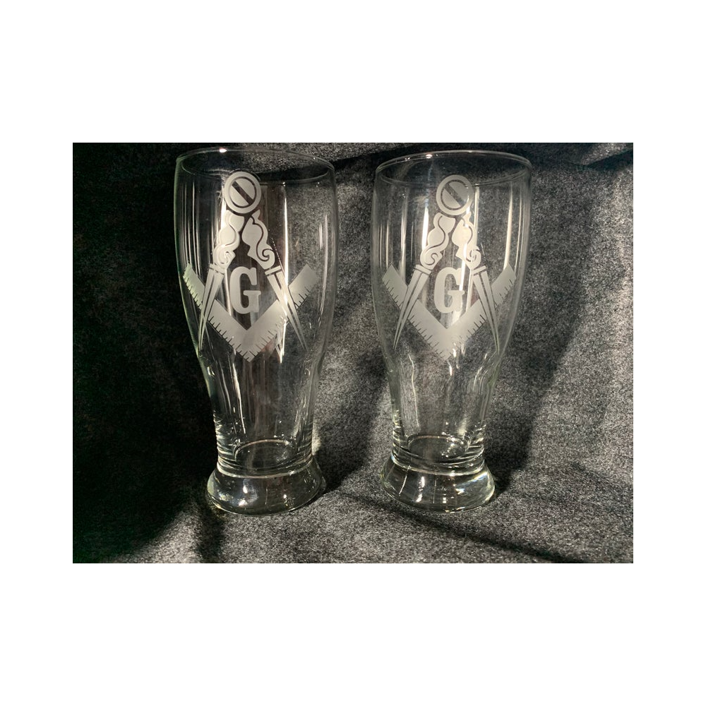 Masonic Etched Pilsner Glasses