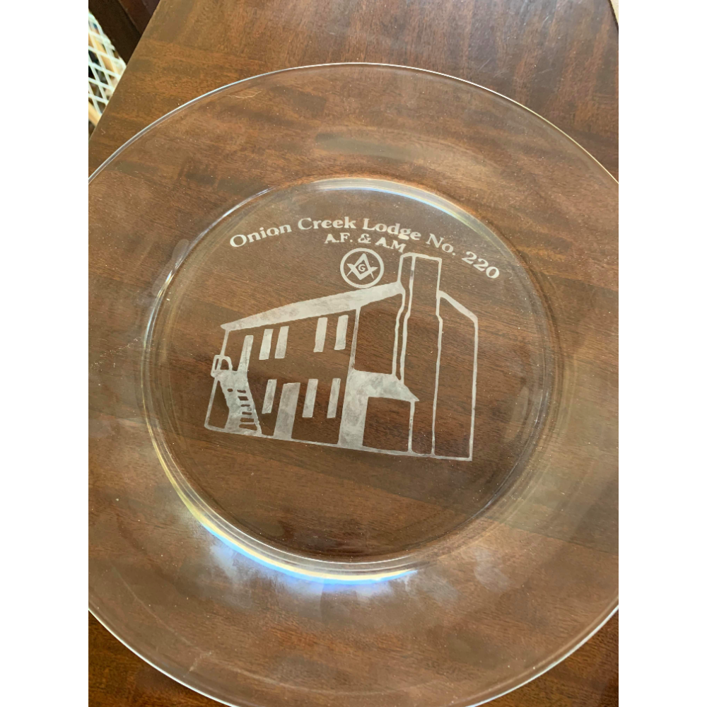 Onion Creek Lodge Etched Glass Plate