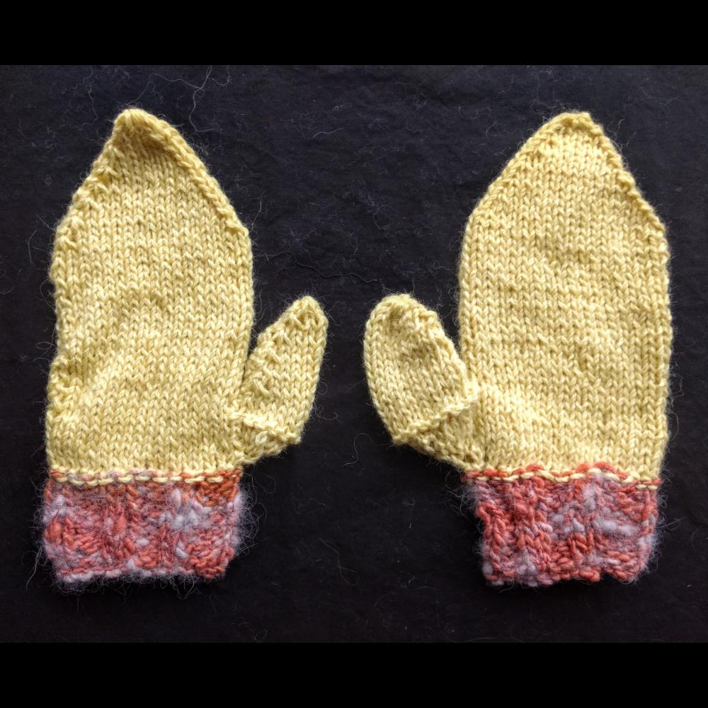 Denali Yellow Knit Mittens