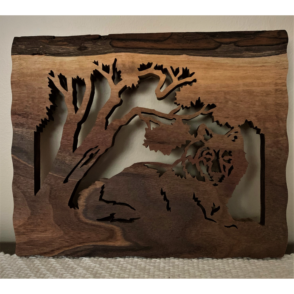 Wolf Under Trees Wooden Carving