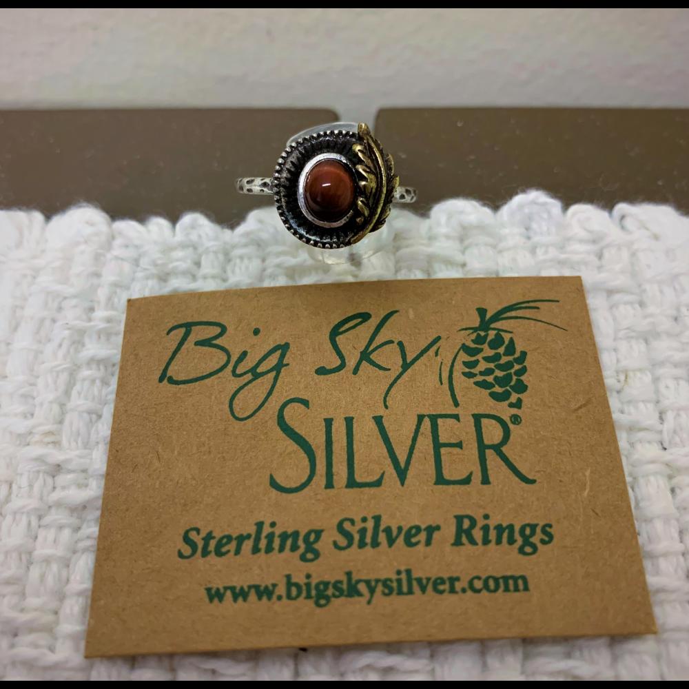 Big Sky Silver Tiger's Eye Leaf Ring