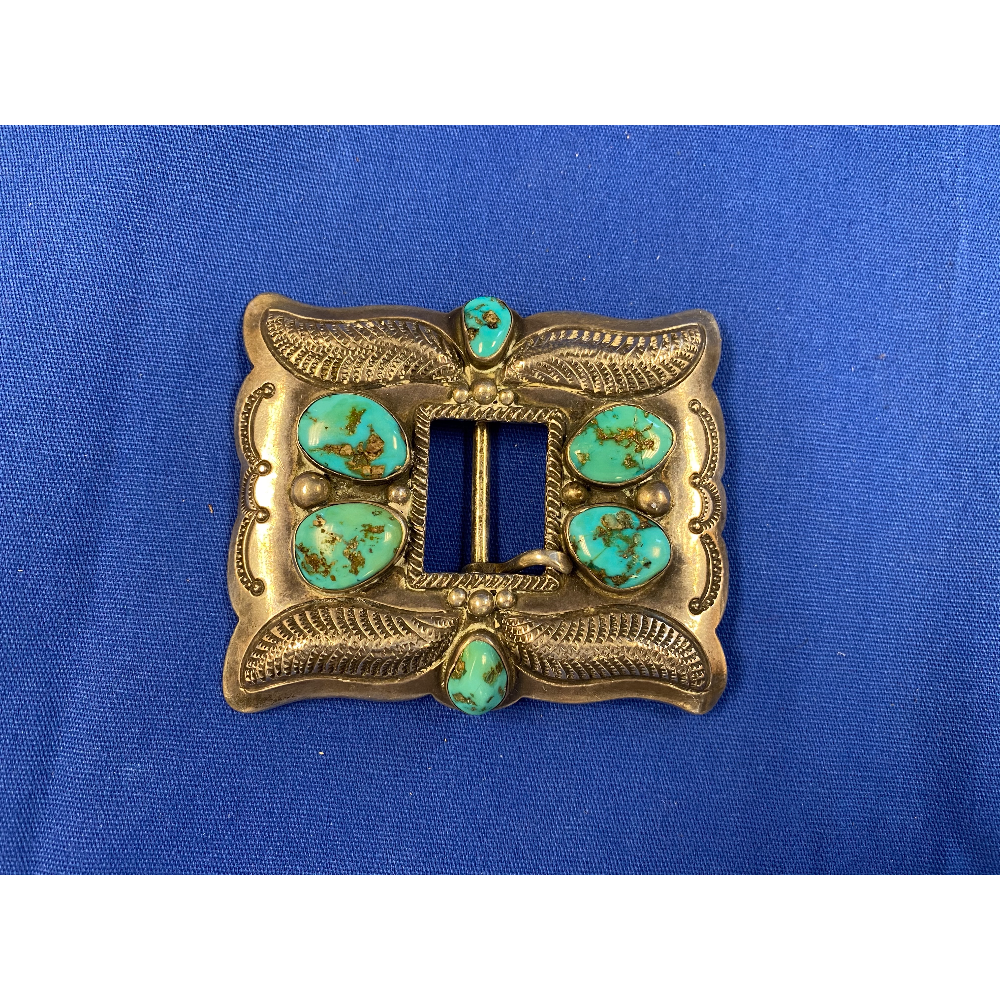 Sterling Belt Buckle with Turquoise
