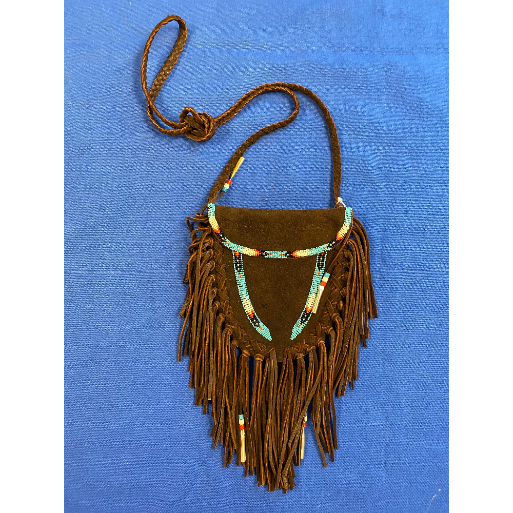 Brown Leather Beaded Bag with Fringe and Tin Cones