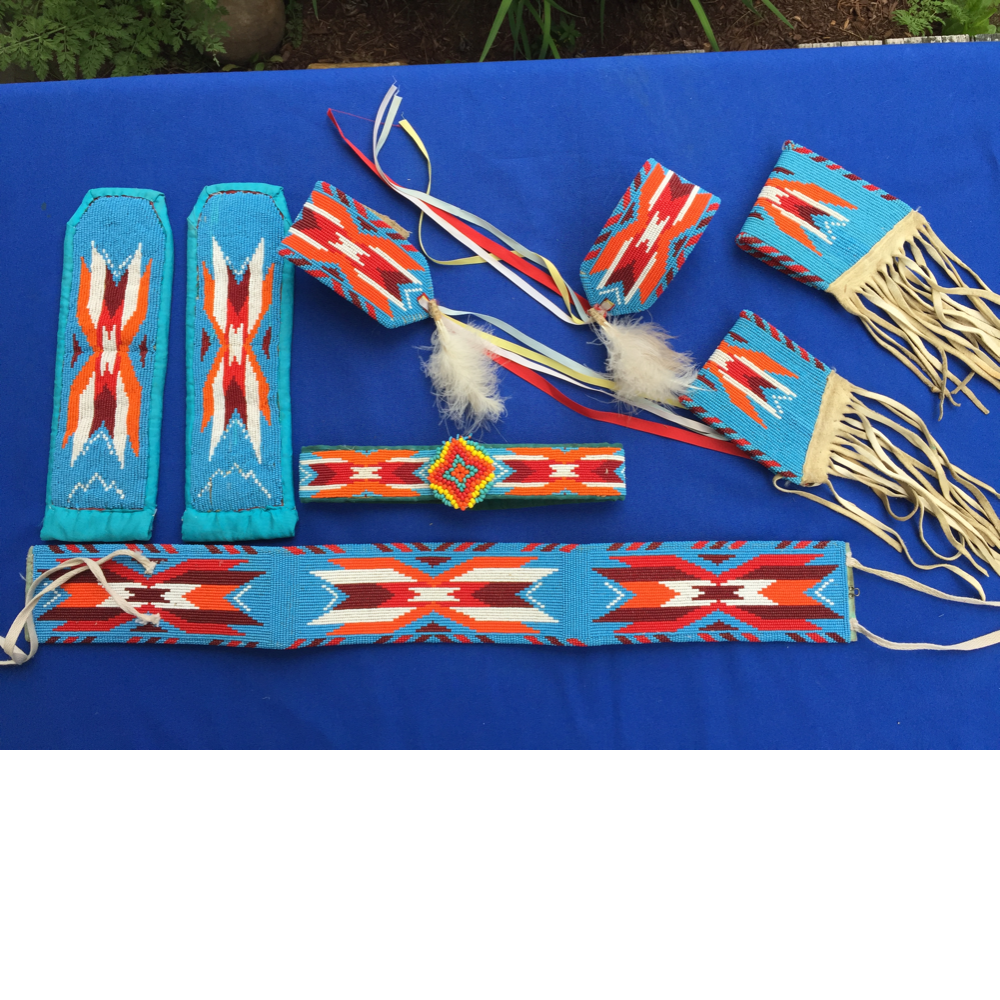 Youth's Blue Crow Beadwork Set