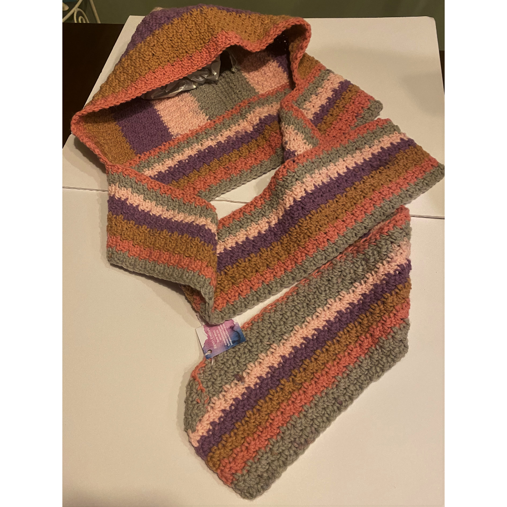 Hand knit, Hooded Scarf