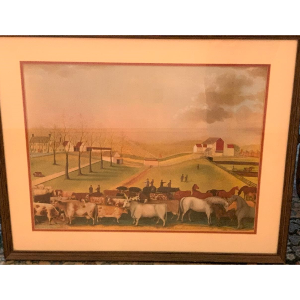 "E. Hicks 1848 print of ""An Indian Summer view of the farm and stock"