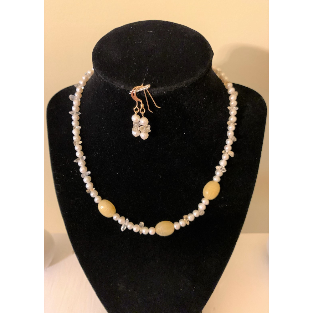 Freshwater Pearl & Citrine Necklace with Earrings Set