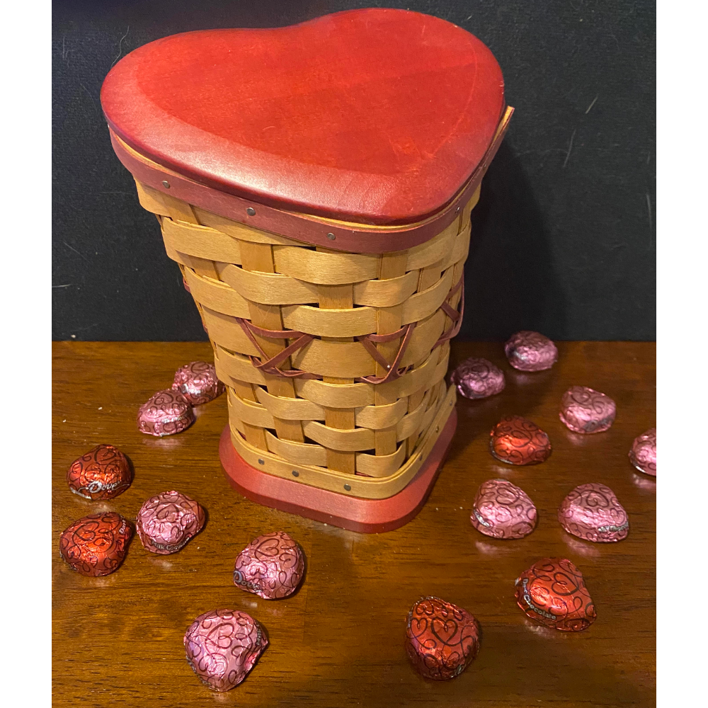 Heart Shaped Longaberger Basket with Valentines Chocolates