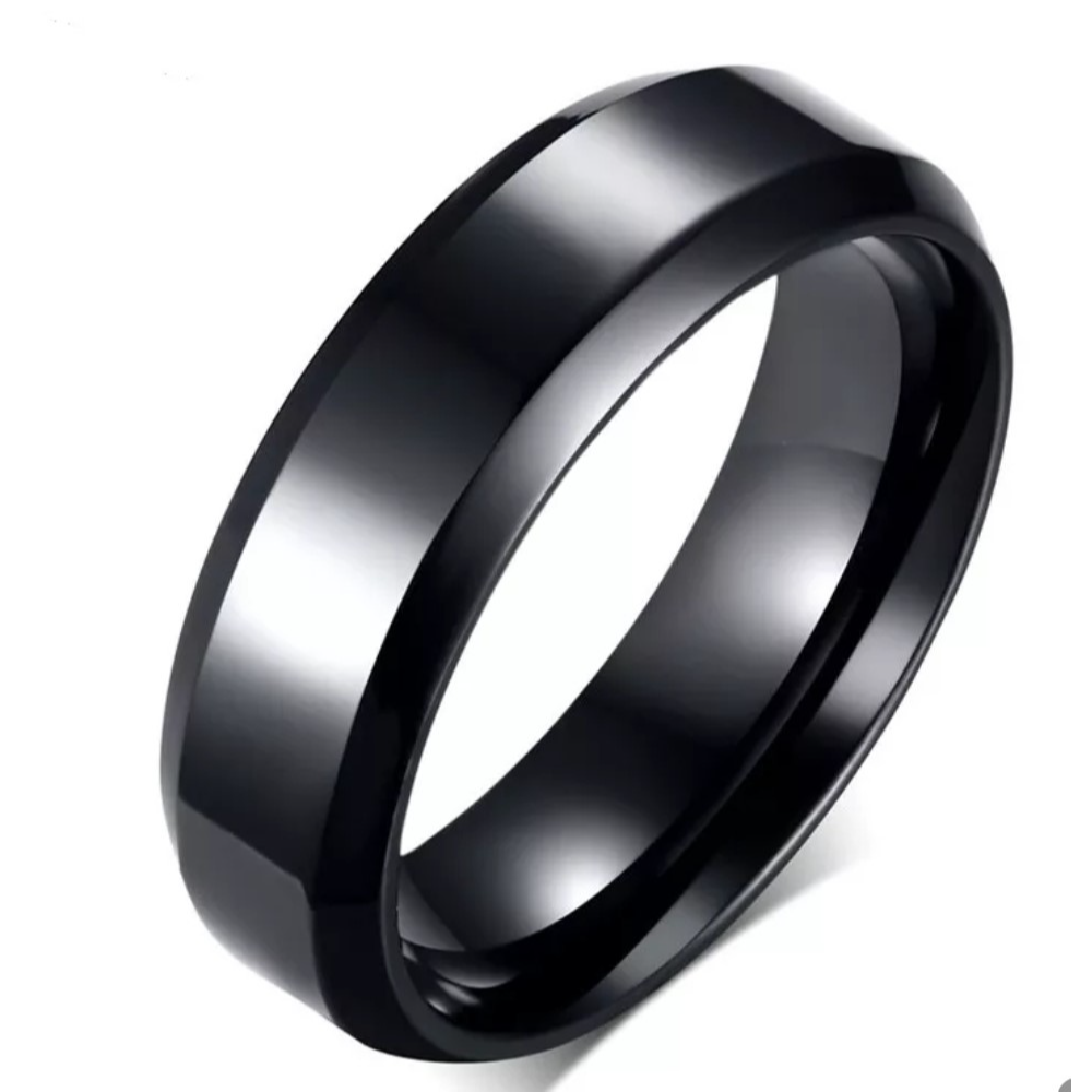Mens, Sz. 10, Smooth Black, Stainless Steel Wedding Band Ring