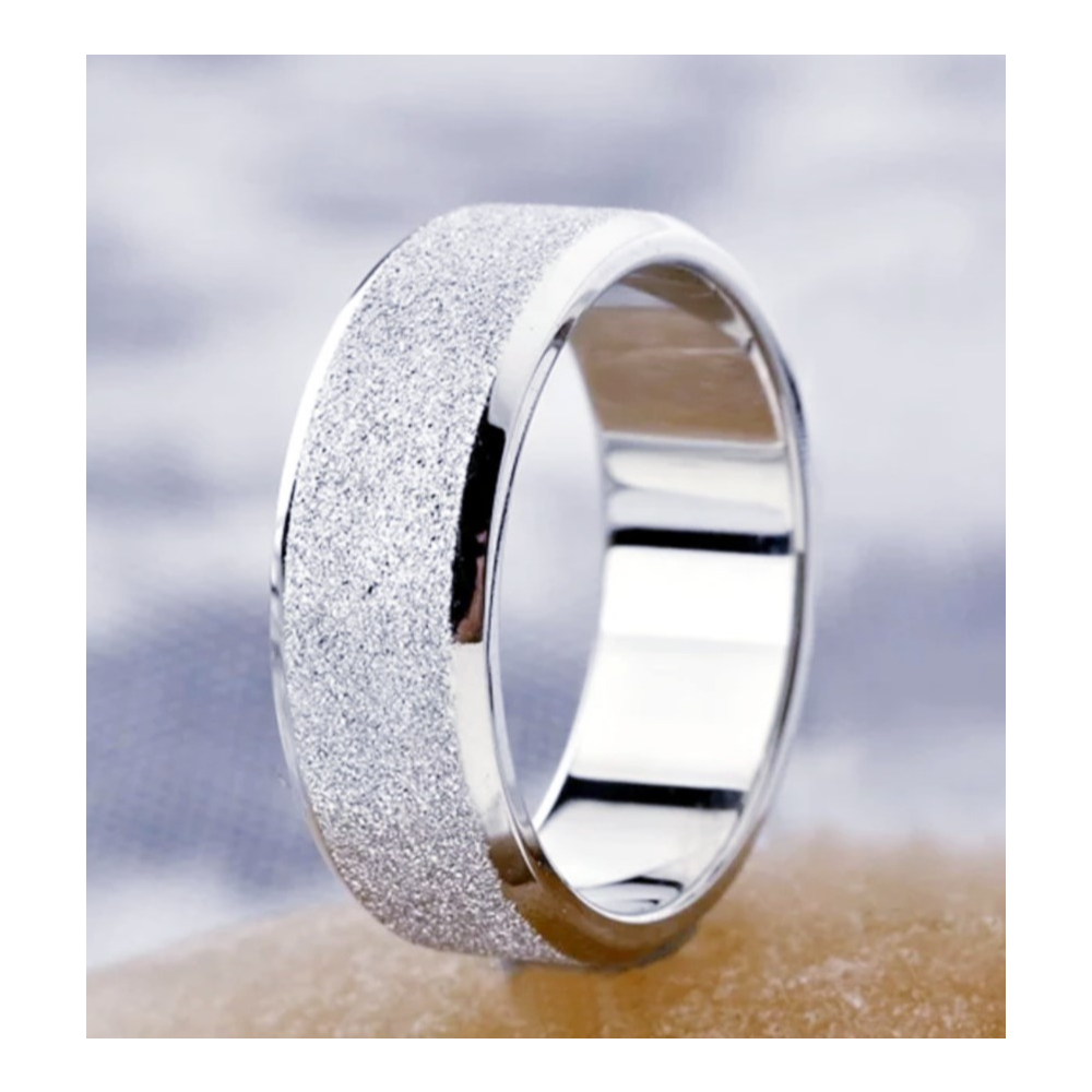 Mens, Sz. 11, Silver, Stainless Steel Matte Finish, Glitter Wedding Band