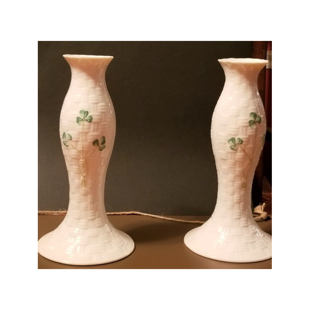 2 Belleek candlesticks - Kylemore Candlesticks