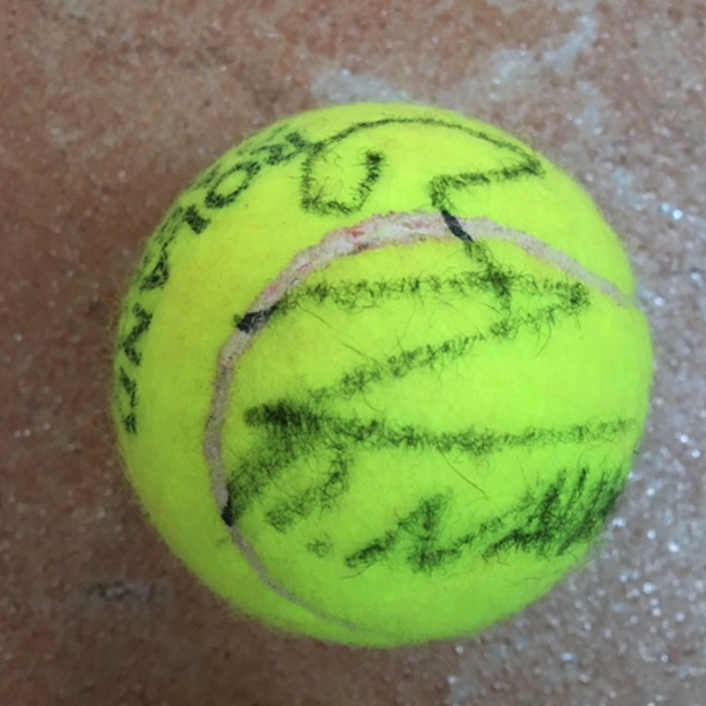 Rafael Nadal Autographed Tennis Ball Used in 2020 French Open Roland Garros Match.