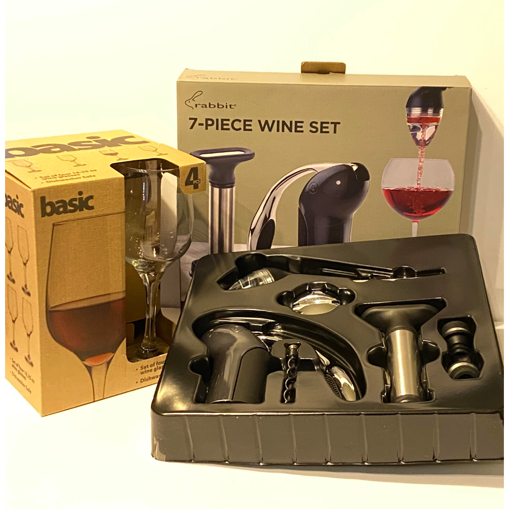 7 Piece Wine Opener & 4 Glasses Set