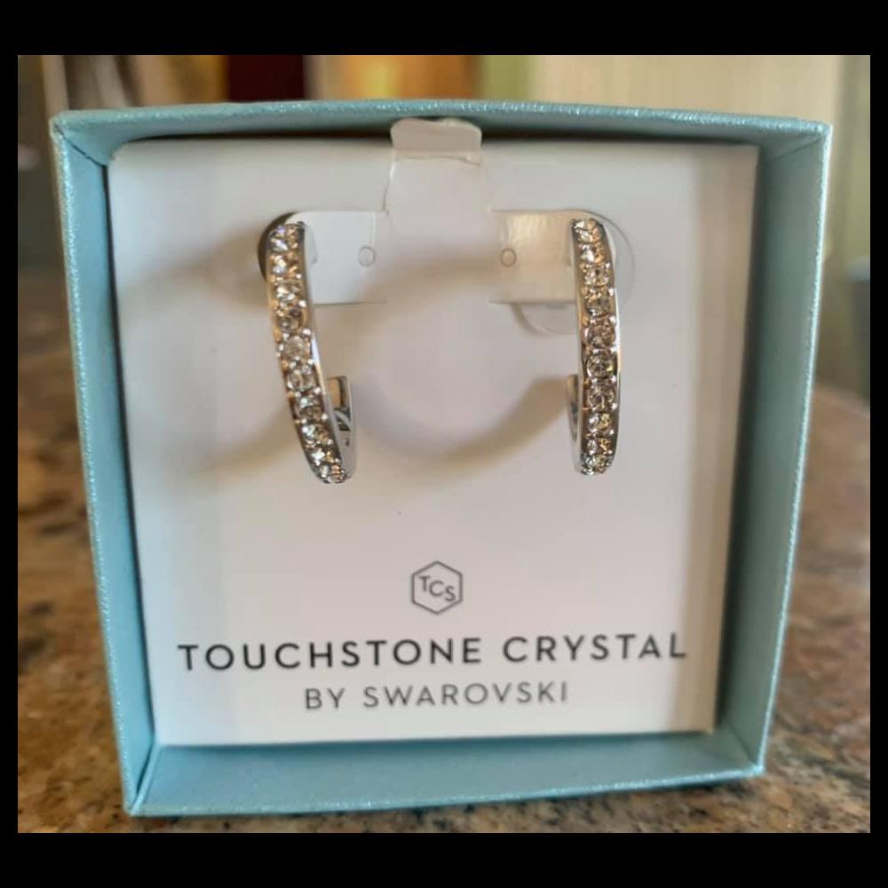 Look Around Touchstone Crystal Hoop Earring