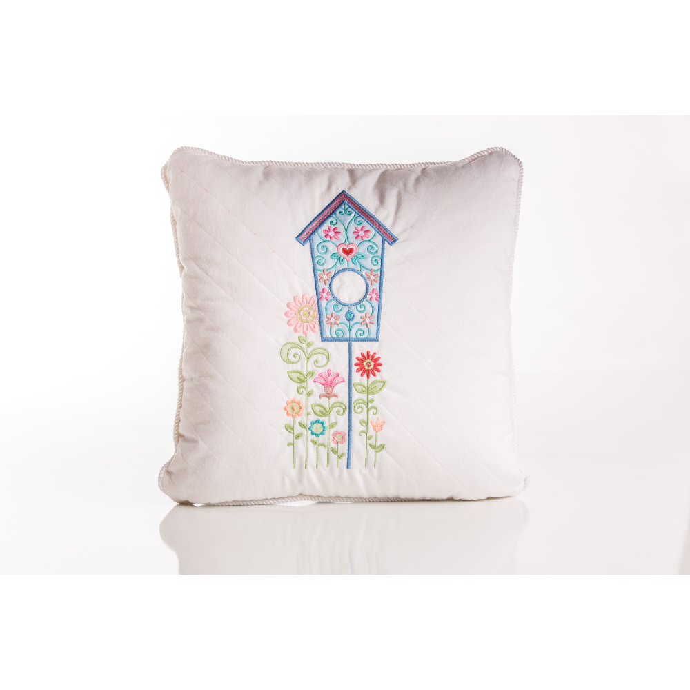 Embroidered Birdhouse Pillow