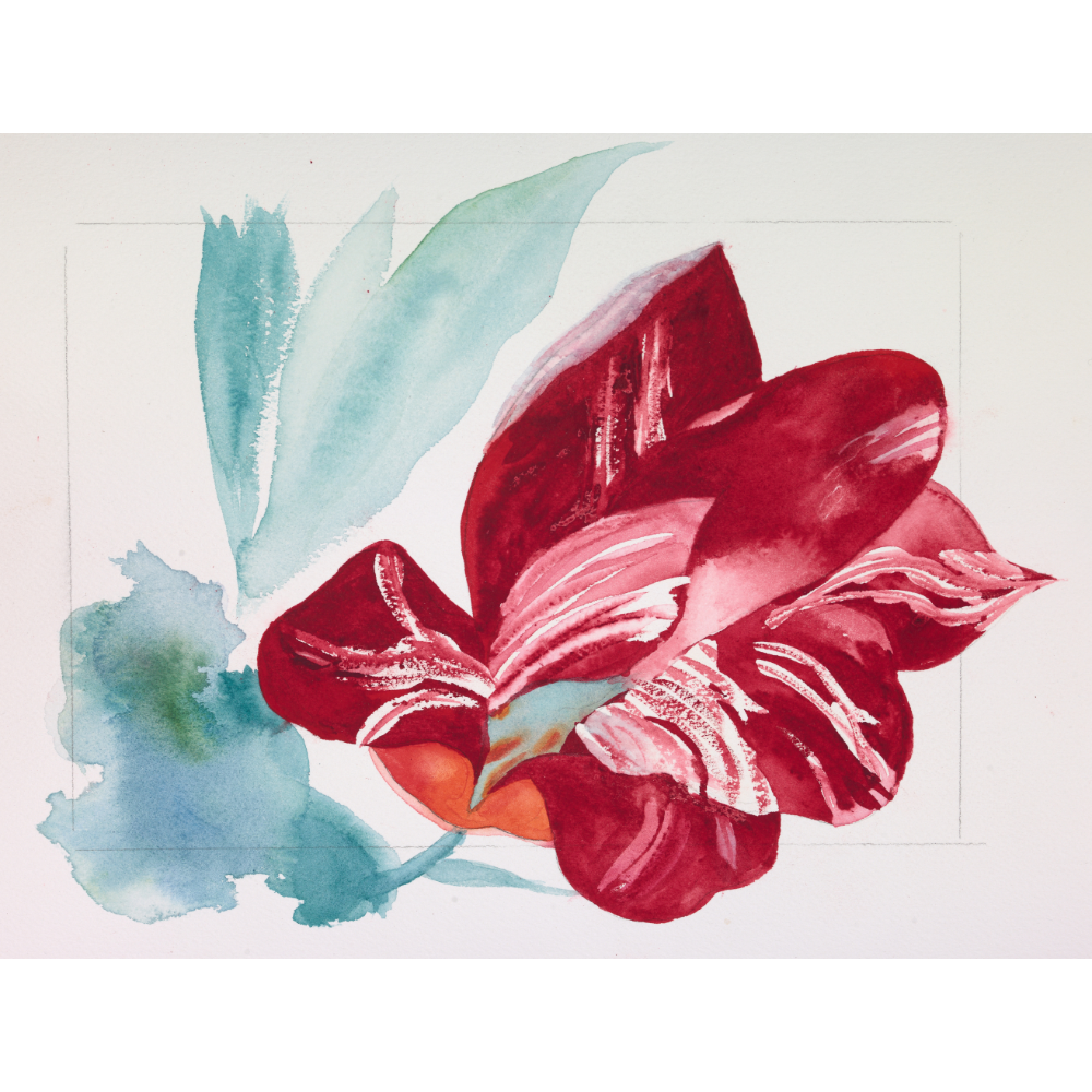 Framed watercolor painting by Elise Ansel
