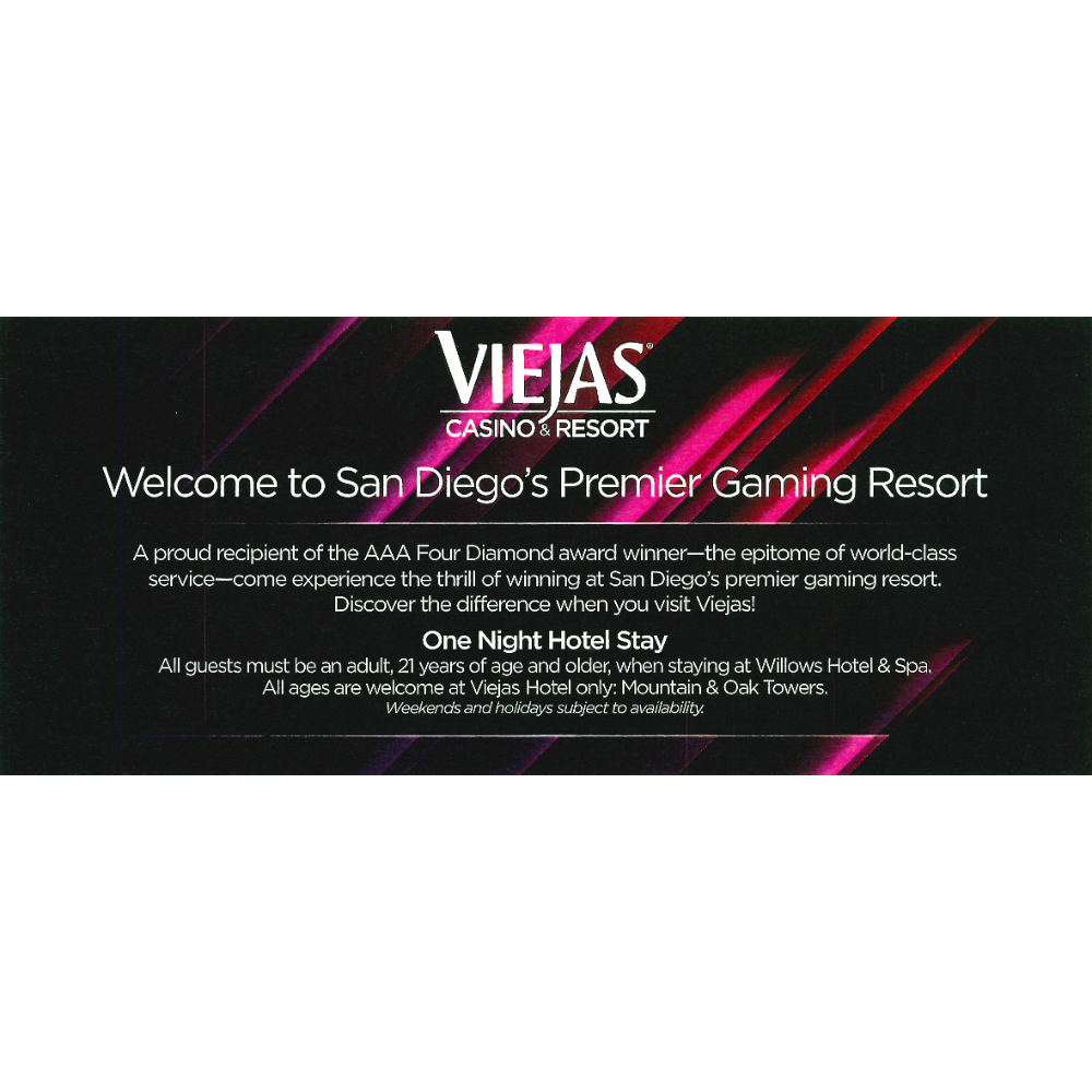 "Viejas Casino & Resort ""Hotel Package #1"""