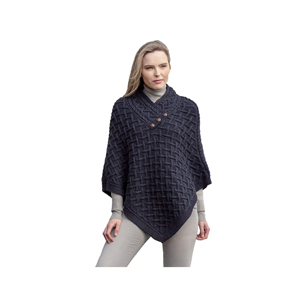 Woman's Irish Cable Knit Wool Nua Button Poncho