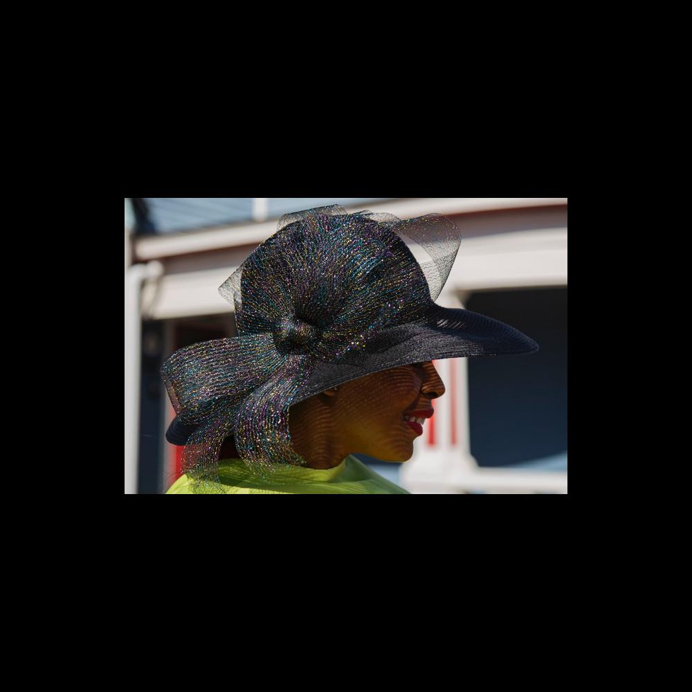 Frank Olive Black medium portrait brim horsehair hat