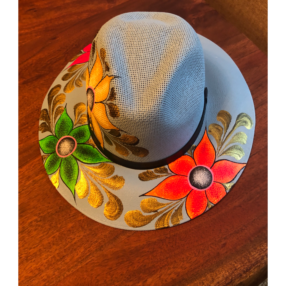 Hand Painted Floral Hat