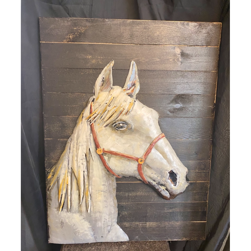 3D White Horse Picture Art