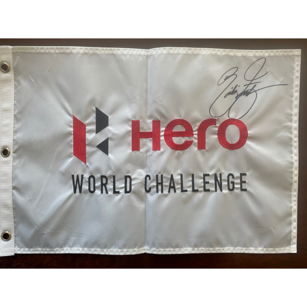 Signed pin flag from a past TGR Foundation golf champion
