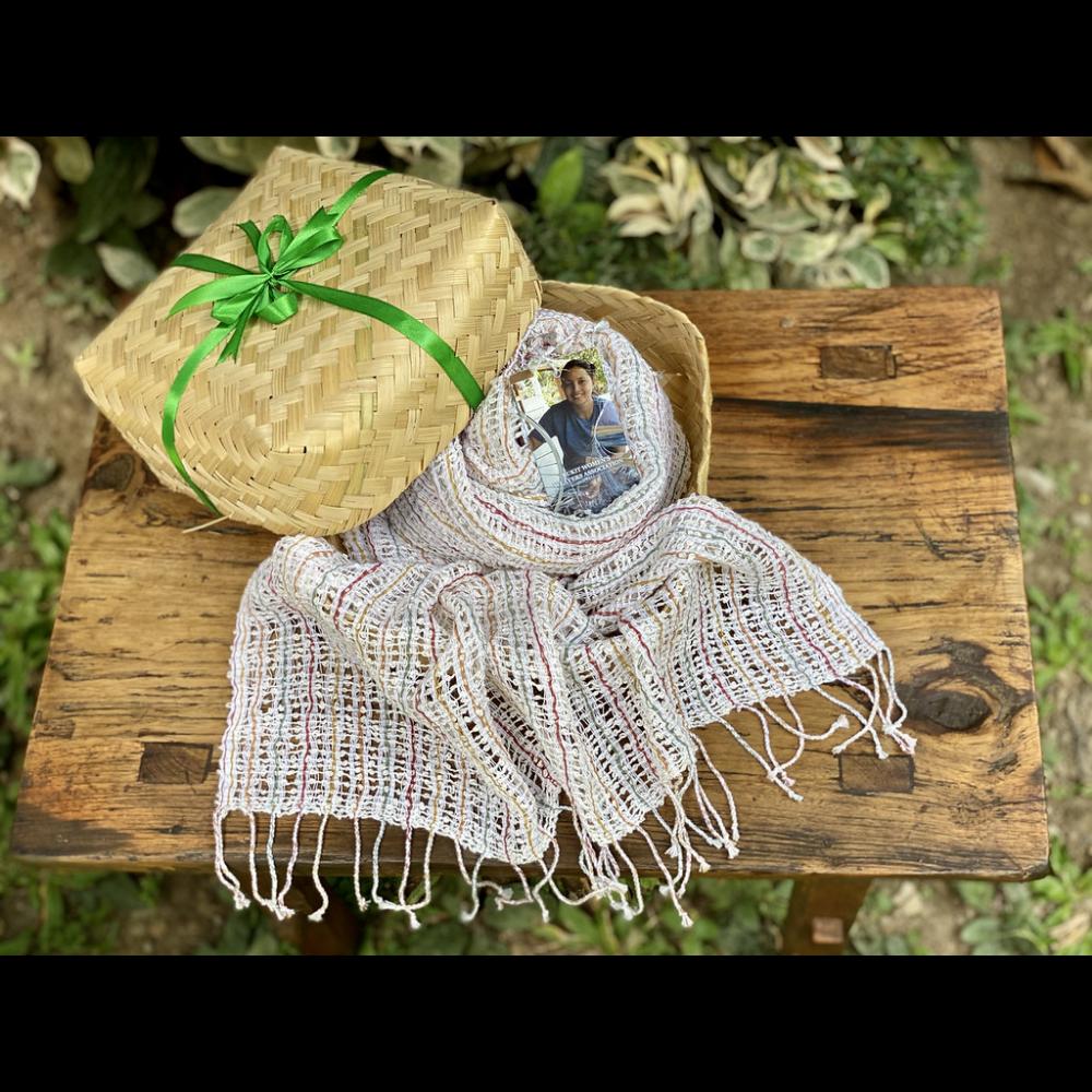 Handwoven rainbow Calavin scarf