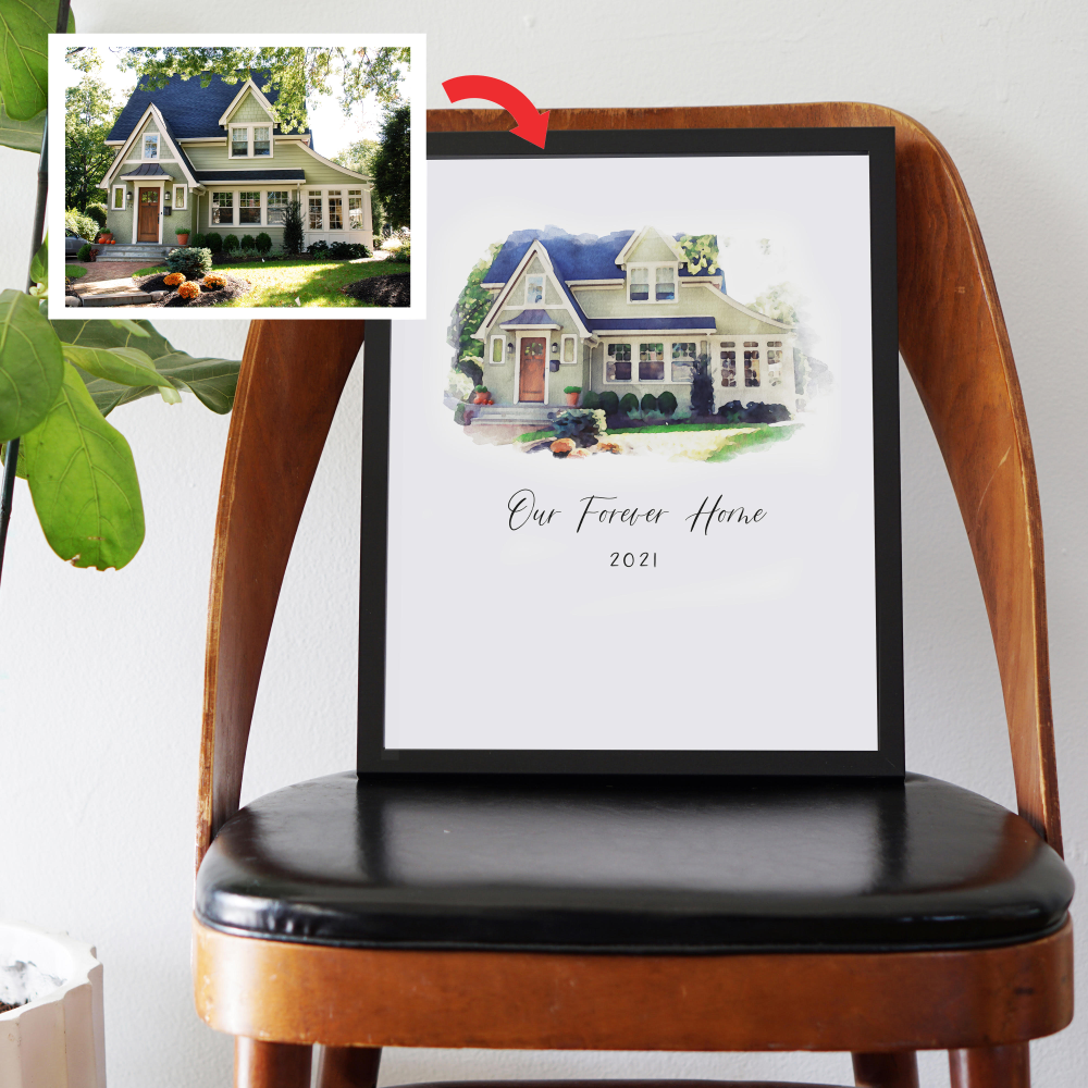11x14 Custom Heirloom Watercolor Print of YOUR Home