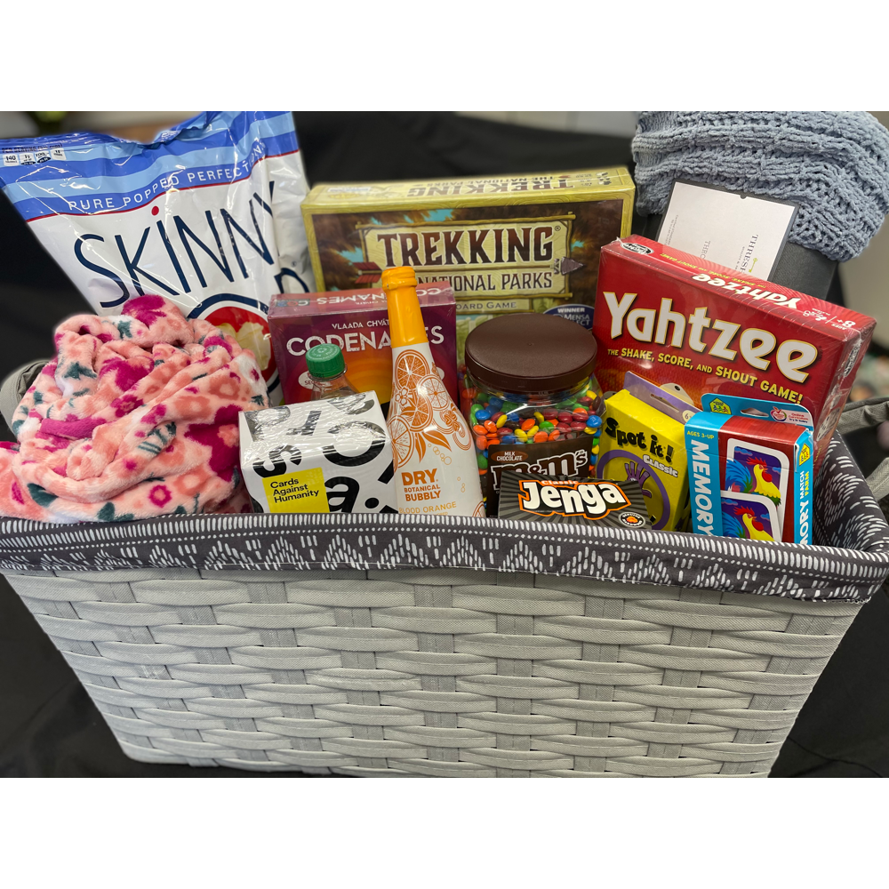Family Fun Game and Snack Basket