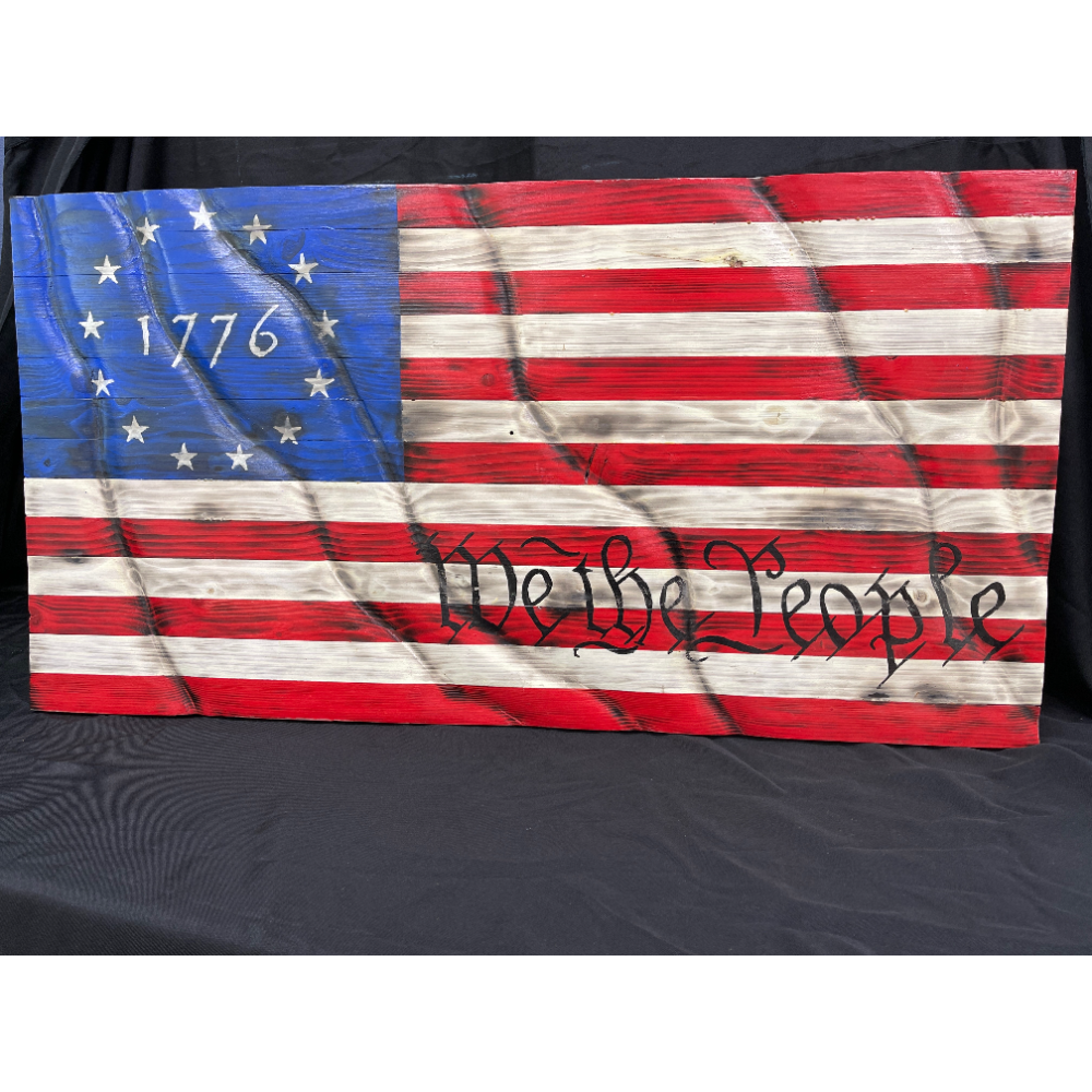 """""""We the People"""" Hand Carved and Painted American Flag"""