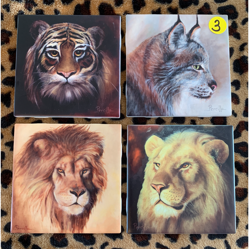 A Beautifully Painted Set of Art Tiles Featuring Portraits of Large Safari Cats