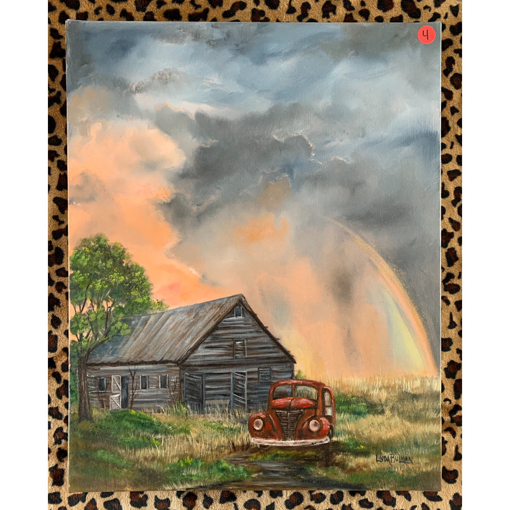 """16"""" x 20"""" Oil Painting of After the Storm (Farm truck with rainbow)"""