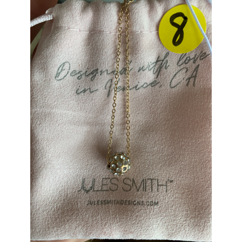 Jules Smith Pave' Ball Necklace Gold layered with Crystal
