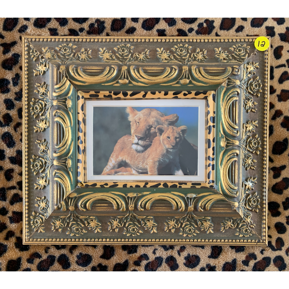 """10 1/2"""" x 12 1/2"""" Frame of a Lioness and her Cub in an Intricate Designed Picture Frame (TCWR's personal collection)"""