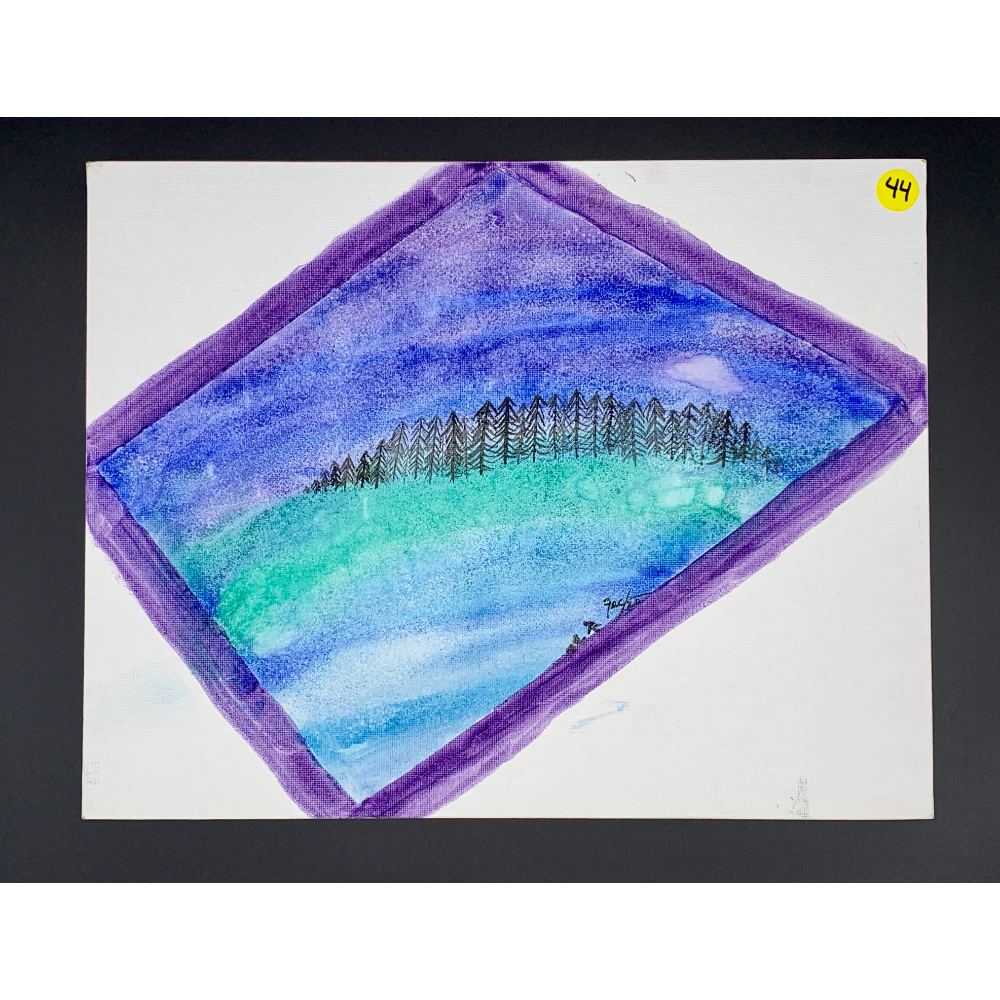"""11""""x14"""" Canvas painting of a Forest line view from an airplane"""