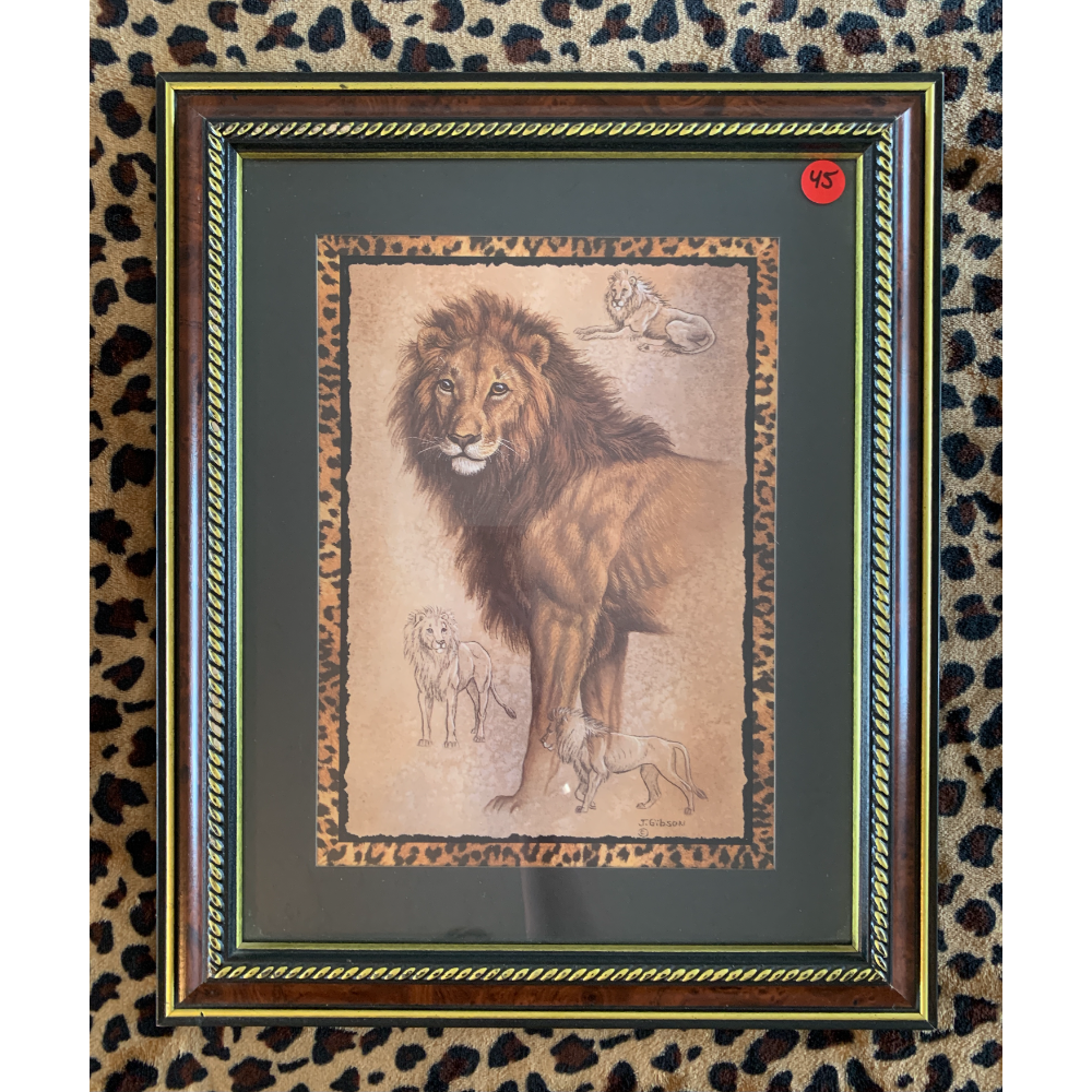 """13.5"""" X 16.5"""" Matted and Framed Lion Print (artist """"J. Gibson"""")"""