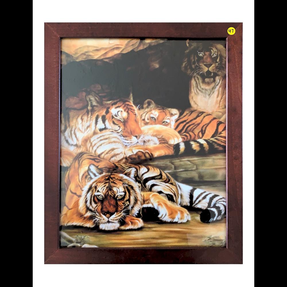 """18"""" x 22"""" Espresso Framed Streak of Tigers Art Print"""
