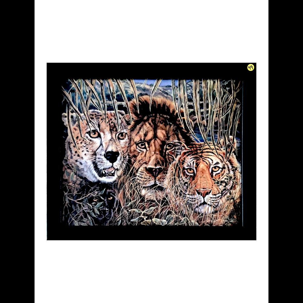 "18"" x 22"" Black Framed Large Cat Collage by Jonnie KC Chardonn Kostoff"