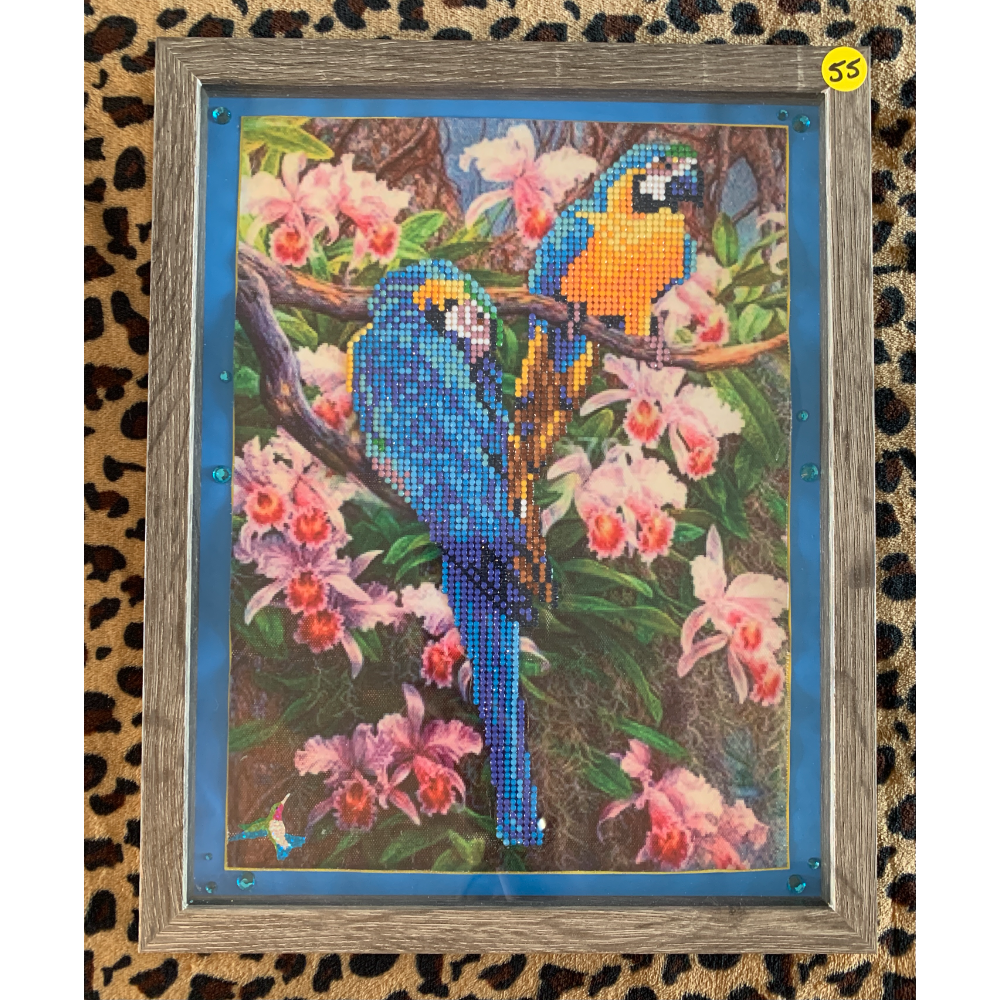 "15"" x 12"" Framed Diamond Painting of Two McCaws in Jungle Setting with Light blue Matting"
