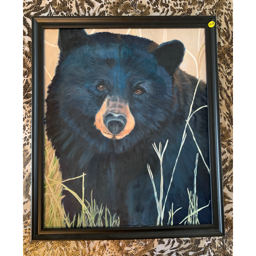 """Blue Bear""- 26'x22' Framed Oil Painting of a Black Bear by Nina Johnson"