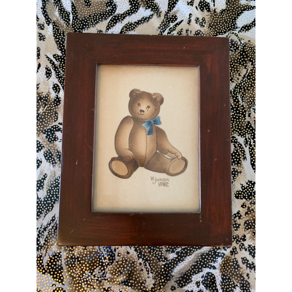 7 1/2' x 9' inch 1982 Vintage Teddy Bear Picture