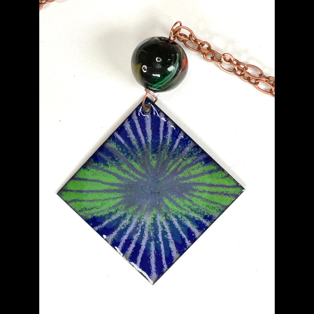 Copper Enamel Square Necklace