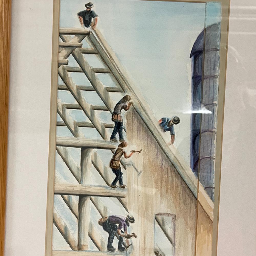 """Amish Barn Raising"" by Robert Redcay - Original Watercolor"