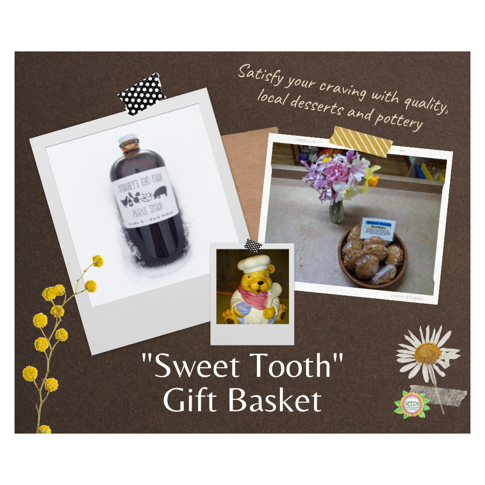"""""""Sweet Tooth"""" Gift Basket - One Dozen """"Whole Earth"""" Cookies in a Ceramic Cookie Jar + Amber Rich Quart & Dark Robust Pint of Maple Syrup"""