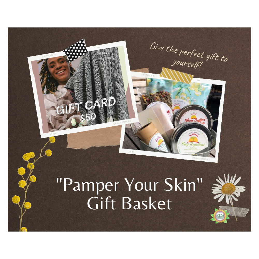 """""""Pamper Yourself"""" Gift Basket - Mount Pleasant Herbal Bath Products (chemical-free, PA local) + a $50 Bronca Ponchos Gift Card"""