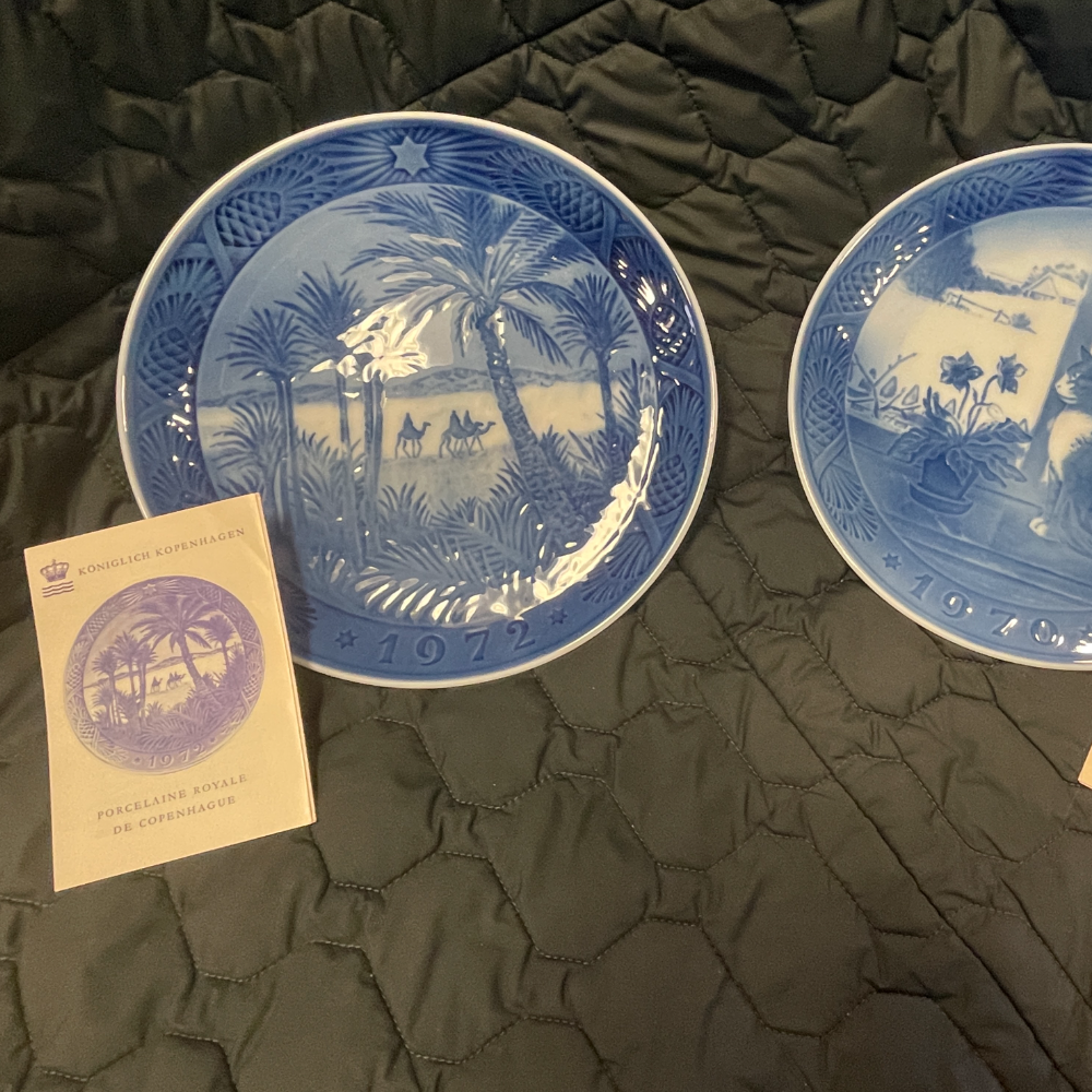 Royal Copenhagen Christmas Plates 1970, 1971, 1972, 1973, 1974