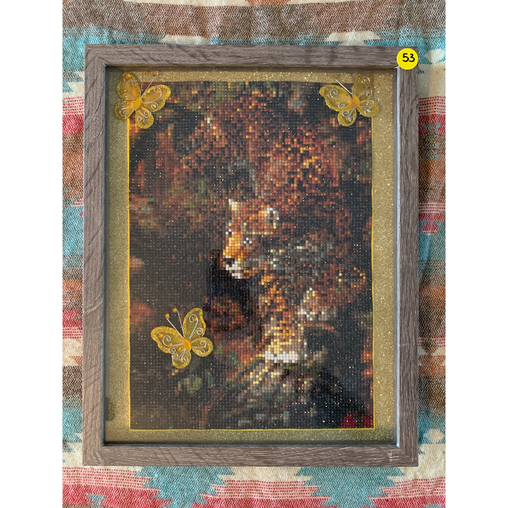 """15"""" x 12"""" Framed Diamond Painting of Leopard with Metallic gold flaked Matting"""