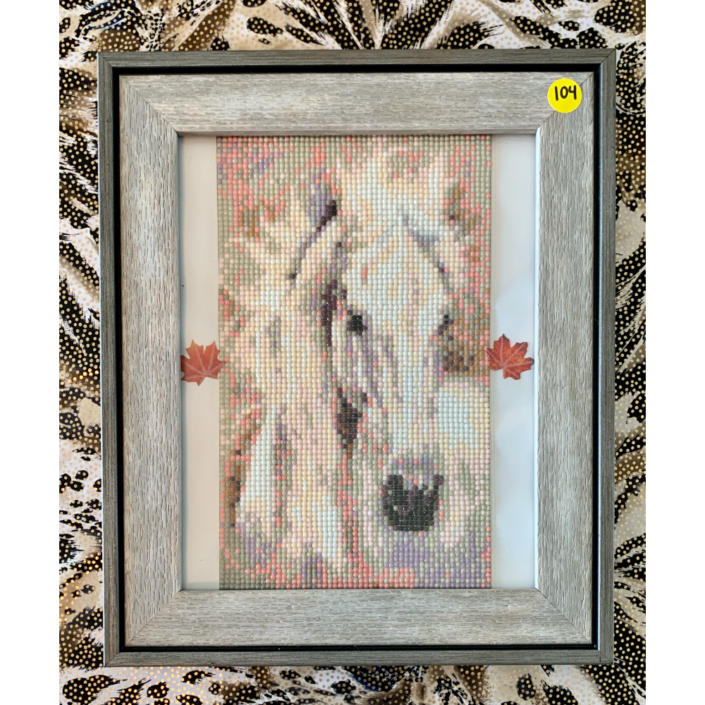 "12 1/2"" x 13 1/2"" Framed White Horse Diamond Painting"