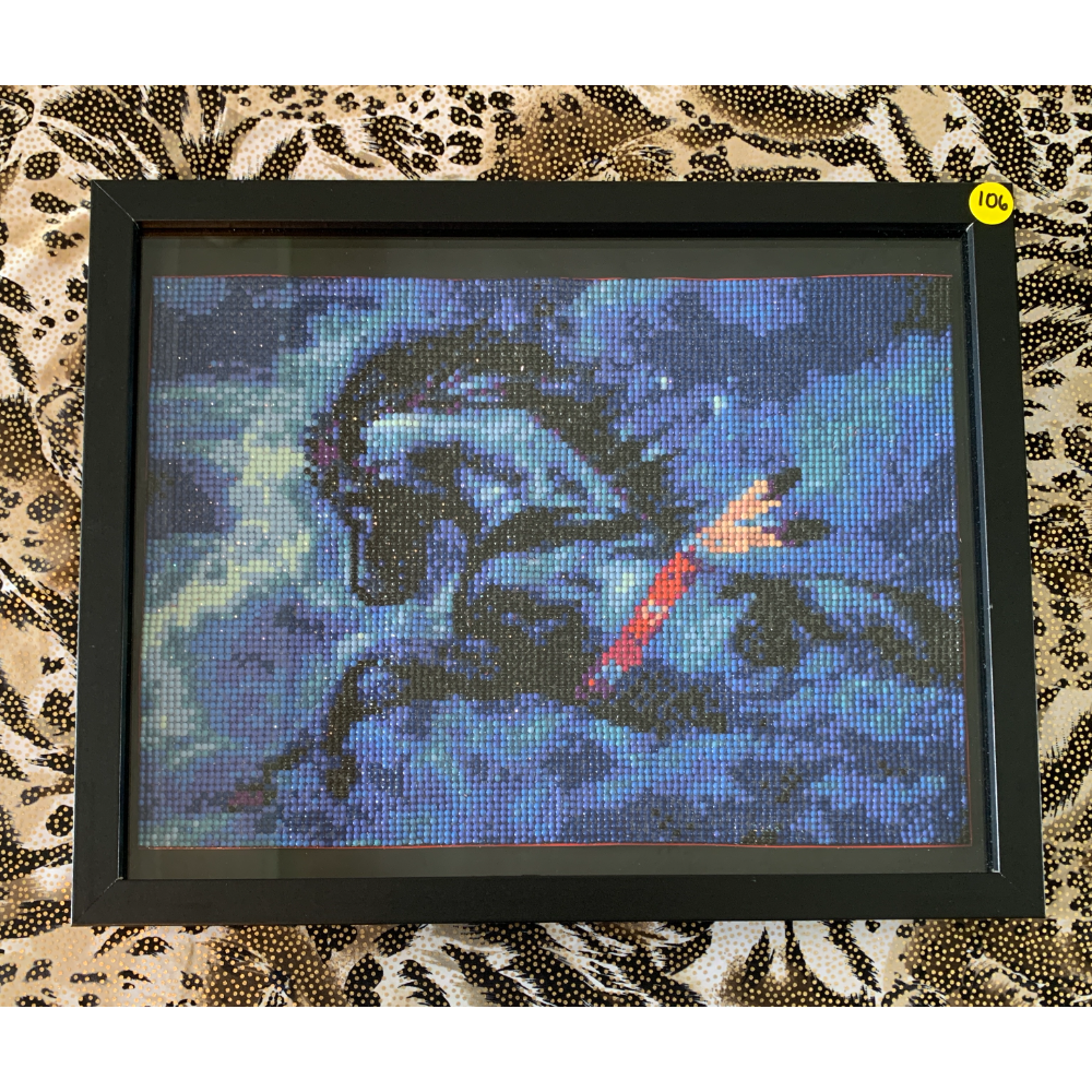 "15"" x 12"" Framed Midnight Blue War Horse Diamond Painting"