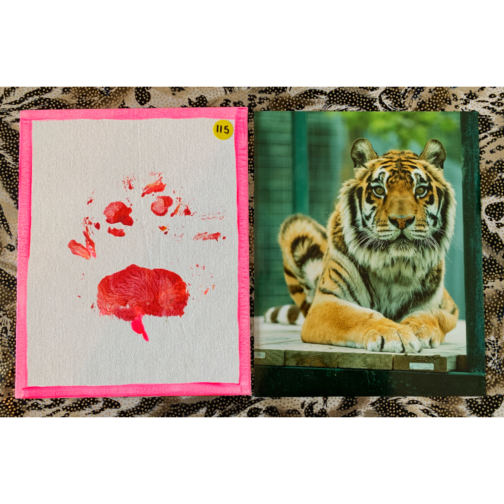 """8"""" x 10"""" Paw Painting from """"Little Tony's Wellness Exam.""""  Includes Photo"""